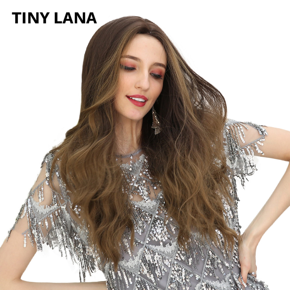 TINY LANA Women's wigs 26 Ombre Grey Brown Long Curly Body Wave Synthetic Hair Wig Simulation Scalp Mid Part Free Shipping