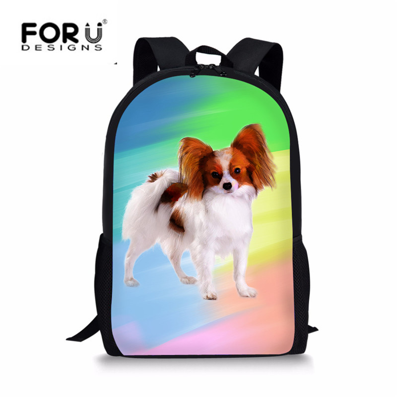 FORUDESIGNS Cute Papillon Dog 3D Print Kids Girls Colorful School Bags Casual Womens Beach Backpack Students School Backpacks