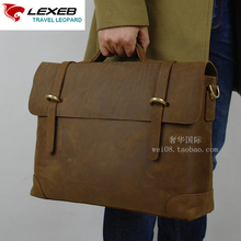 LEXEB Brand Lawyer Briefcase Cow Leather Men Laptop Bag 15 Inches Vintage Classic Office Bags High Quality Laptoptas Heren Bruin