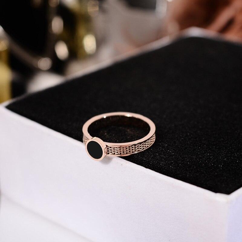 Новинка 2018, простое черное круглое кольцо YUN RUO цвета розового золота, модные ювелирные изделия из титановой стали, подарок на свадьбу, день р...
