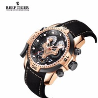 Reef Tiger Mens Watches with Complicated Dial Rose Gold Case Automatic Military Sport Watch with Rubber Strap Relogio Masculino 2