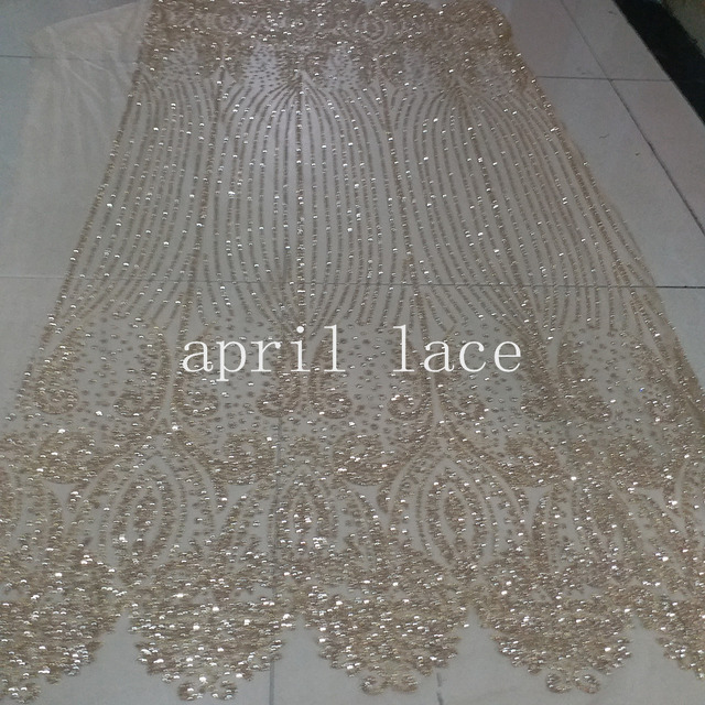 5yards AA160 shining champagne gold glued print glitter sparkle net tulle  mesh lace for fashion designer  wedding party 1eb7b2cd3b15