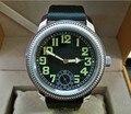 44 мм GEERVO черный циферблат Азиатский 6497 17 драгоценностей механические ручное движение ветра мужские часы светящиеся механические часы 054A
