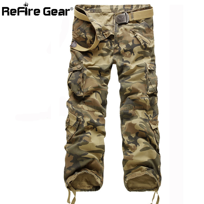 Casual Military Style Camo Cargo Pants Men Many Pockets Camouflage Combat Trousers Cotton Fashion Army Tactical Pants for Men