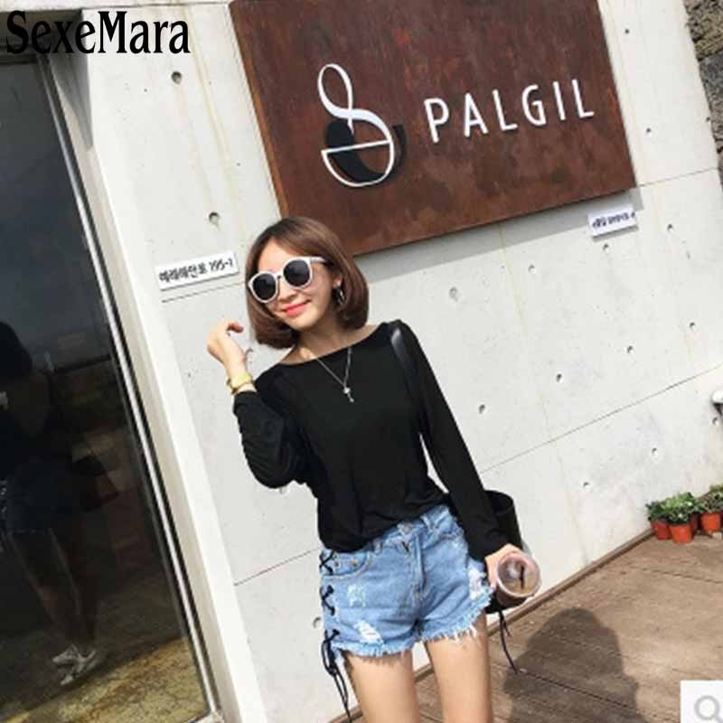In Summer 2017 Fashion Pants Side Hole Loose Bandage Thin Waist Pocket Jeans Shorts Shorts Women On Both Sides Of The Tide