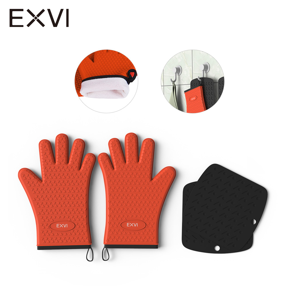 EXVI 2PCS Extreme Heat Resistant Barbecue Oven Glove and Table Mat Thick Silicone Kitchen BBQ Grill