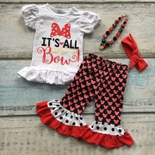cotton baby girls kids red Character print it s all about my bow capris ruffle capris