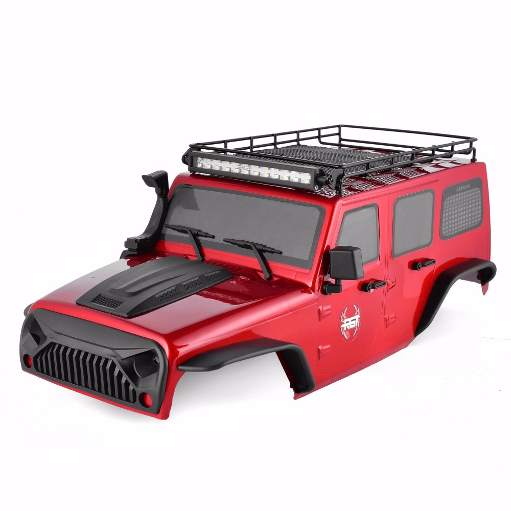 RGT Body Shell and Roof Rack with LED Light Bar For 1:10 RC Crawlers Axial SCX10 Traxxas Redcat 313mm Wheelbase RC Car Parts