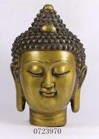 Chinese Tibetan Buddhism Bronze Gilt Shakyamuni Sakyamuni Buddha Head Statue