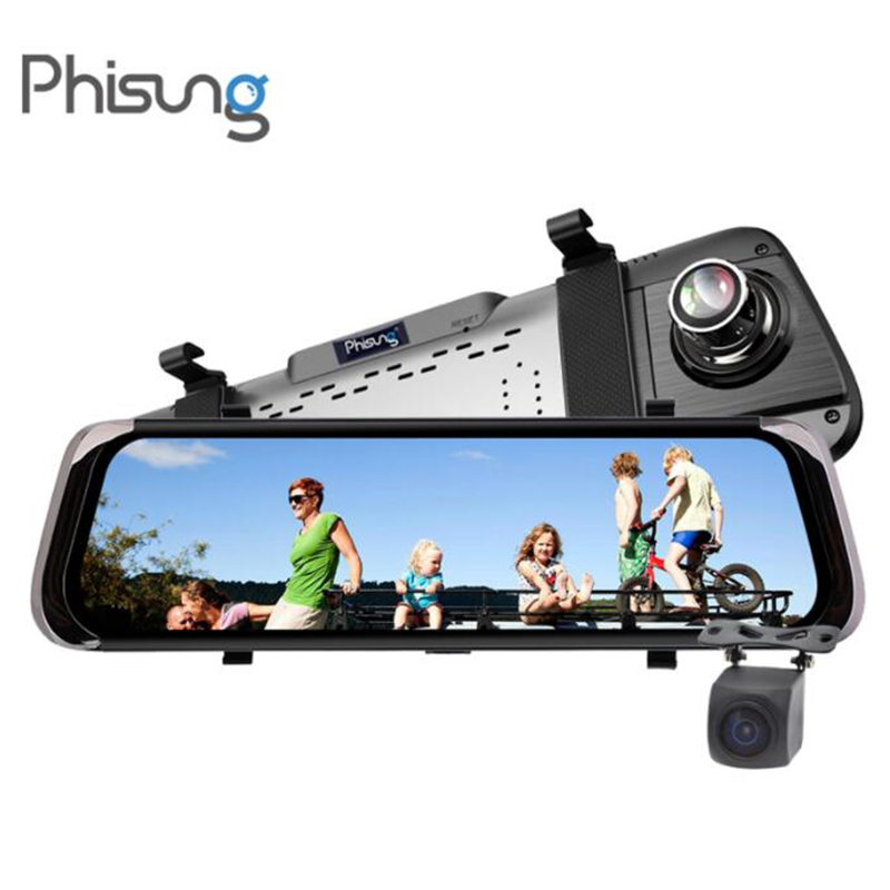 10Touch Screen Registrar Recorder Night Vision car video recorder mirror 1080P drive recorder dash camera dual lens