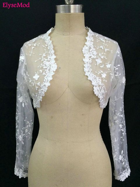 Lace Sheer Long Sleeves 2018 Jackets Bridal Wraps Shawl Bolero Shrugs Stole Cloak Caps Half Sleeve