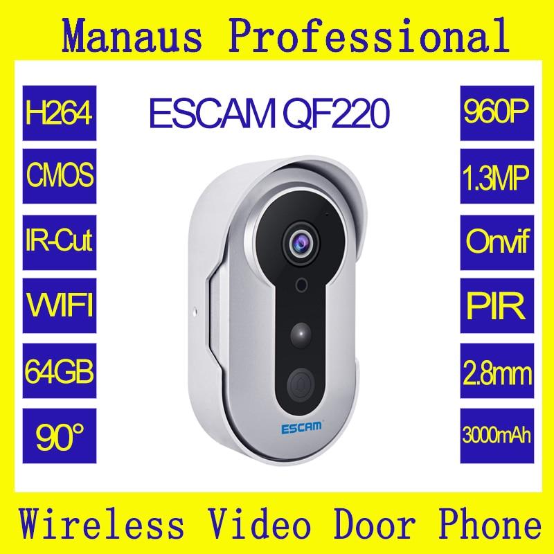 Smart Wifi Doorbell IR IP Camera 1.3 Megapixels Remote Password Unlock Support 64G TF card PIR Alarm Video Intercom Escam QF220