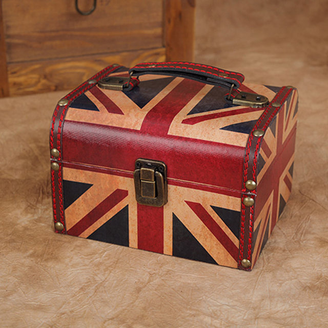Patriothic July 4th American Flag Antique Wooden Jewelry Box With Metal  Lock Vintage Wood Storage Case Container Desk Organizer