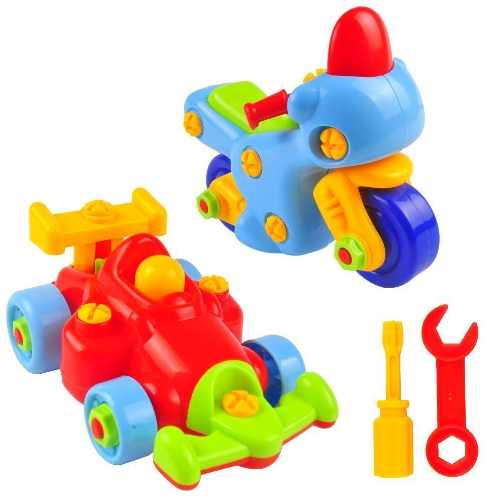 Take Apart Car Toy 2 Sets of Build Your Own Kit, Hobby Formula 1 Racing Car and Motorcycle Best for Kids Ages 3 and up