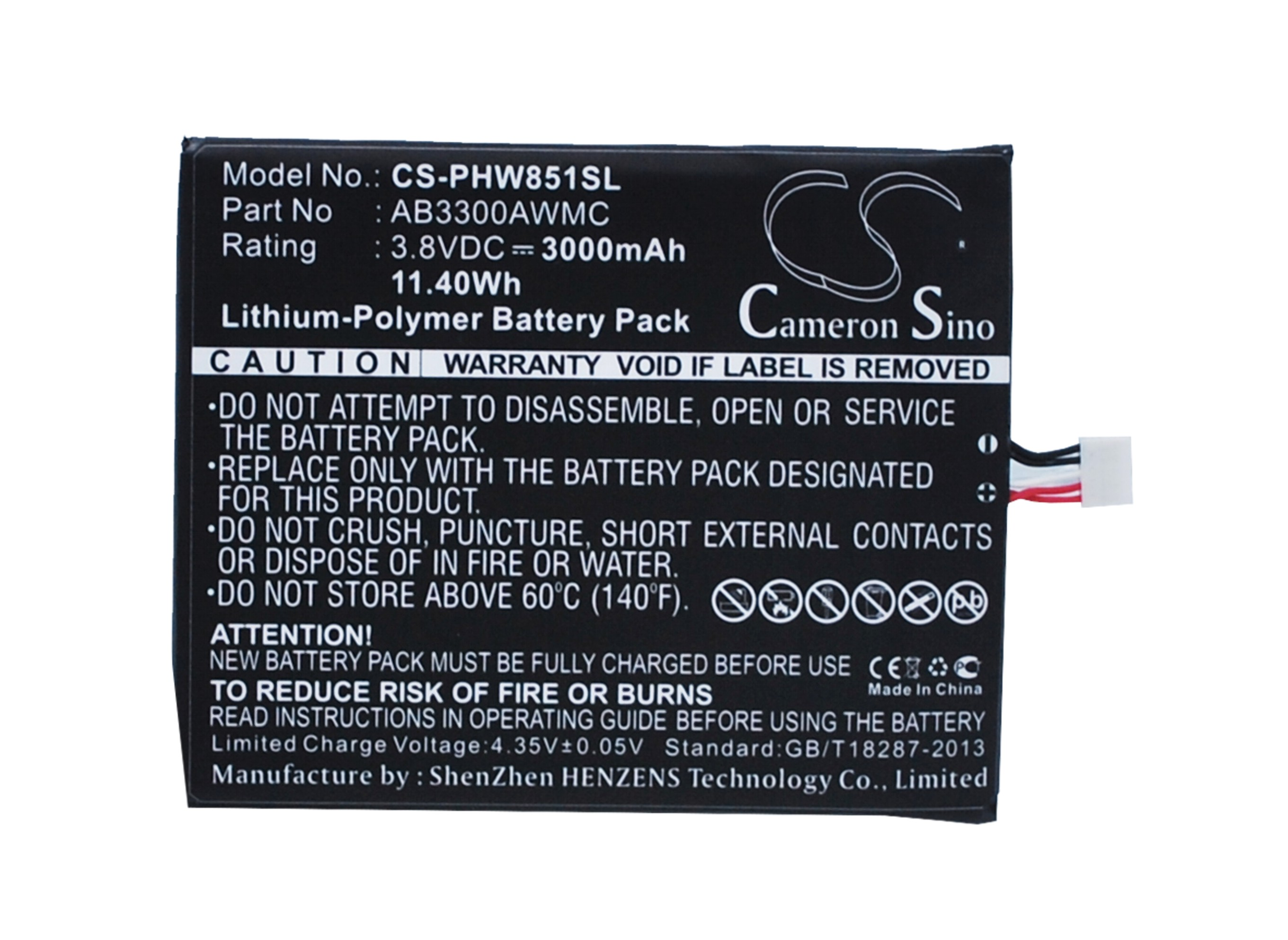 Cameron Sino High Quality 3000mAh Battery AB3300AWMC for Philips W8510, Xenium W8510