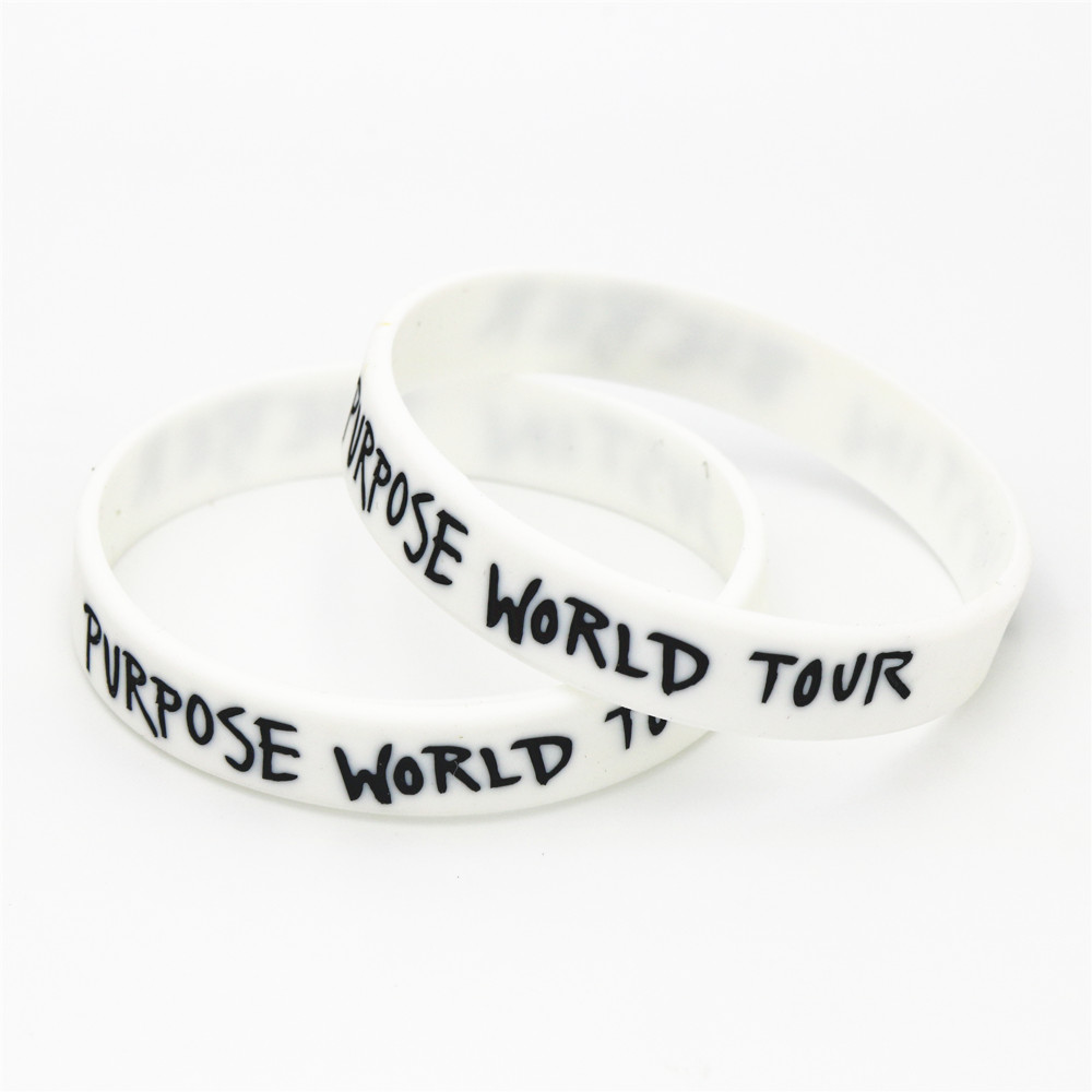 1 Stück Heißer Verkauf Justin Bieber Armbänder Weiß Zweck Welt Tour Justin Bieber Silikon Armbänder & Armreifen Für Musik Fans Sh077