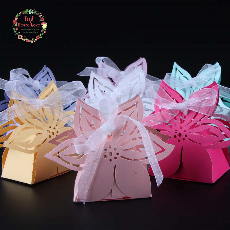 2018 New 50pcs Flower Party Wedding Baby Shower Favors Gift Box