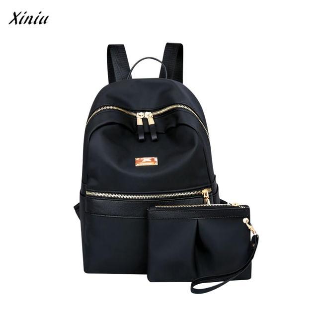 xiniu New 2pcs Set school bags Fashion Two Piece Sets Solid laptop Shoulder  Bag Backpack Pruse Zipper Bag mochilas escolares 1e9f8bb71