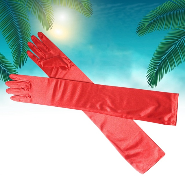 Long Finger Elbow Sun Protection Gloves Opera Evening Party Prom Costume Fashion Gloves Black Red White Grey Women 1