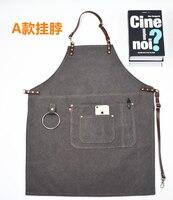 Handmade Apron Leather Denim Canvas Apron Barista Painting Apron Restaurant Work Chef Waiter Fashion Kitchen Accessoriel ZM63