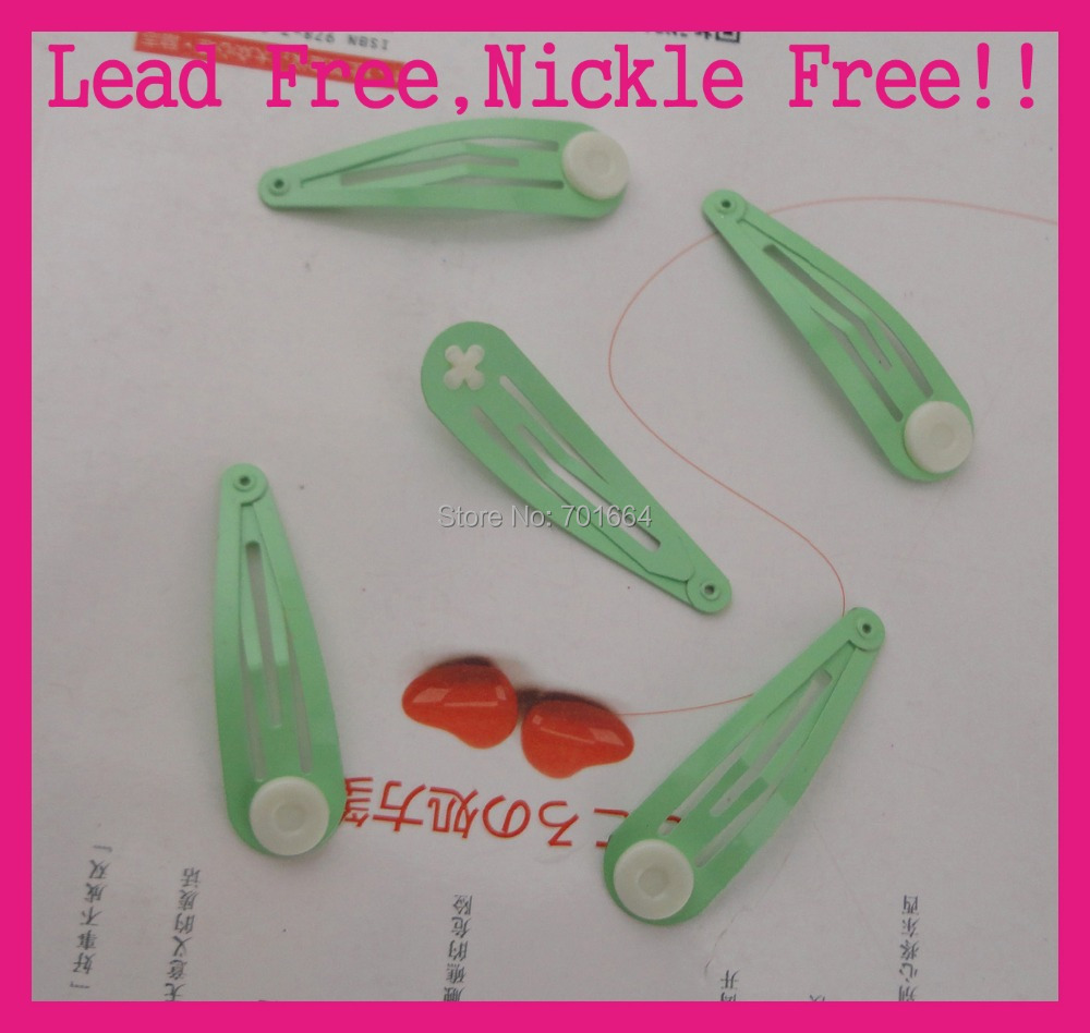 50PCS 5.0cm 2.0 Mint Green Drap Tear Shape Plain Metal Snap Clips with white pads at nickle free and lead free quality