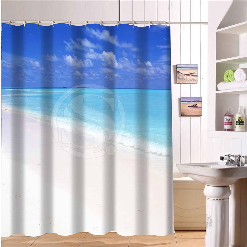 Polyester Bath Curtain Beautiful Landscape Blue Sky Beach Bathroom Shower  Curtains Size 168x182cm Hot Selling(