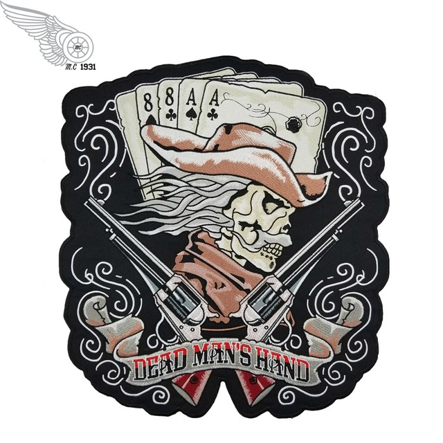Us 17 61 29 Off Machine Embroidery Designs Custom Dead Man S Hand Cowboy Guns Patch Large Back Sew On Patches For Clothes In Patches From Home