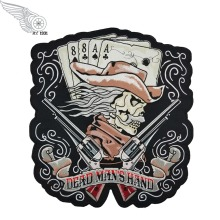 Machine Embroidery Designs Custom Dead Man's Hand Cowboy & Guns Patch Large Back Sew On Patches For Clothes