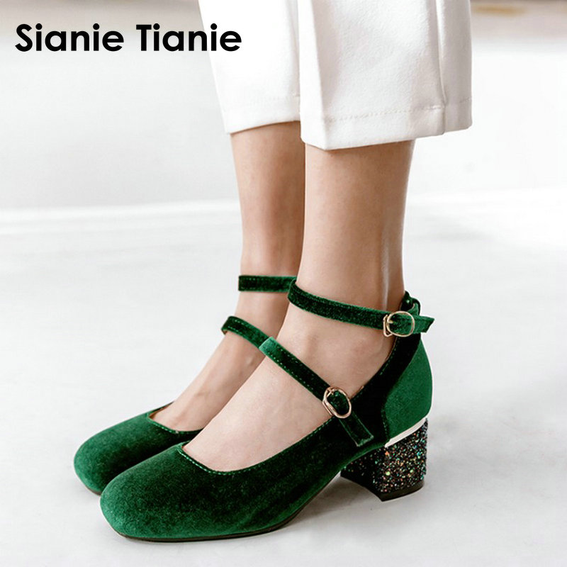 Sianie Tianie Velour Velet Green Burgundy Women Med High Heels Shoes Buckle Strap Bling Glitter Sequined Heels Mary Janes Woman