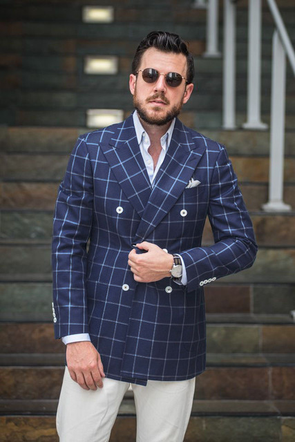Online Shop New Arrival Mens Checkered Suit Windowpane Fashion Men ...