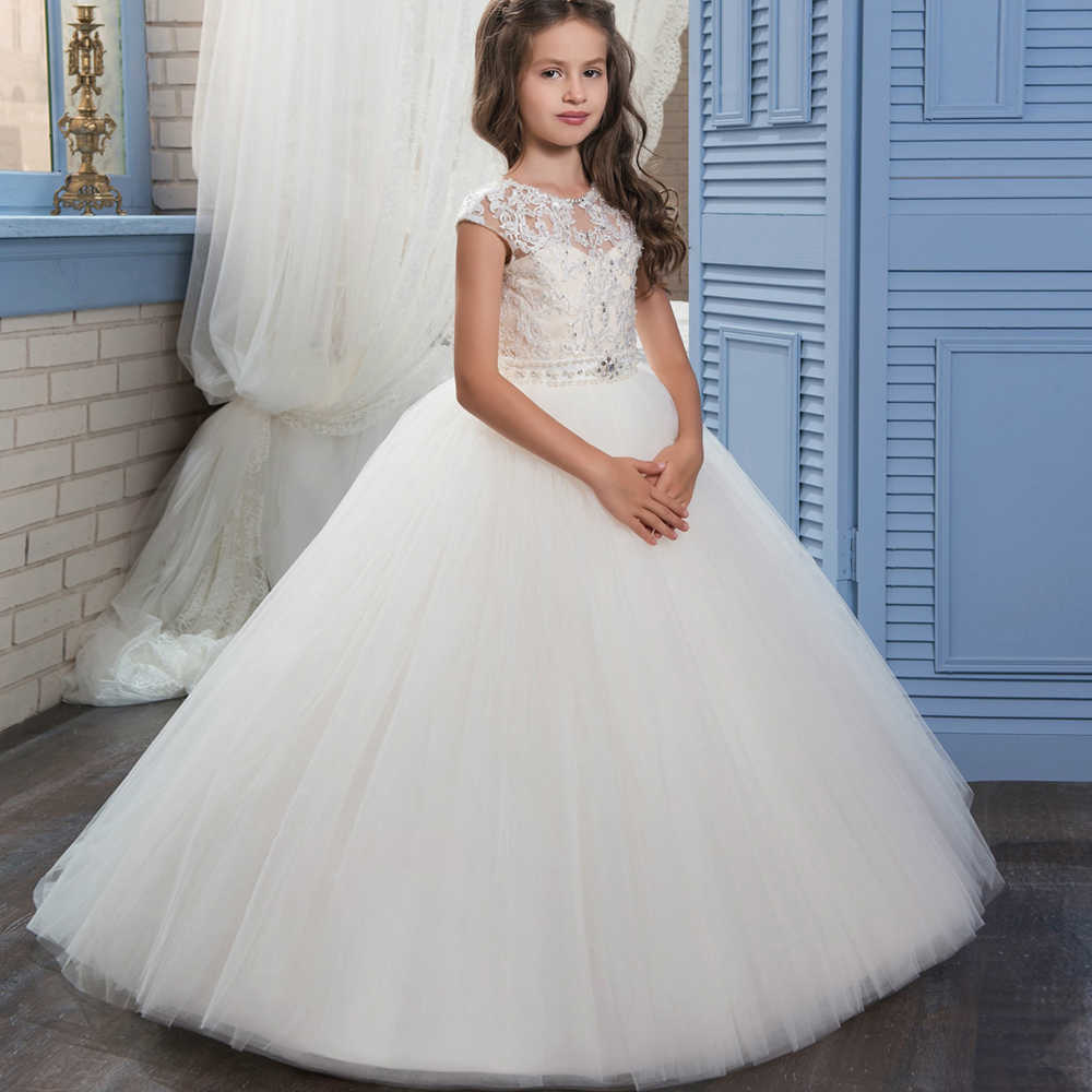 ea356686045 Ivory White Lace Flower Girls Dresses Ball Gown Floor Length Girls First  Holy Communion Dress Princess