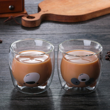 270 ml double coffee cup high borosilicate glass cold drink cup hot drink cup cute bear glassMilk glass, milk tea glass