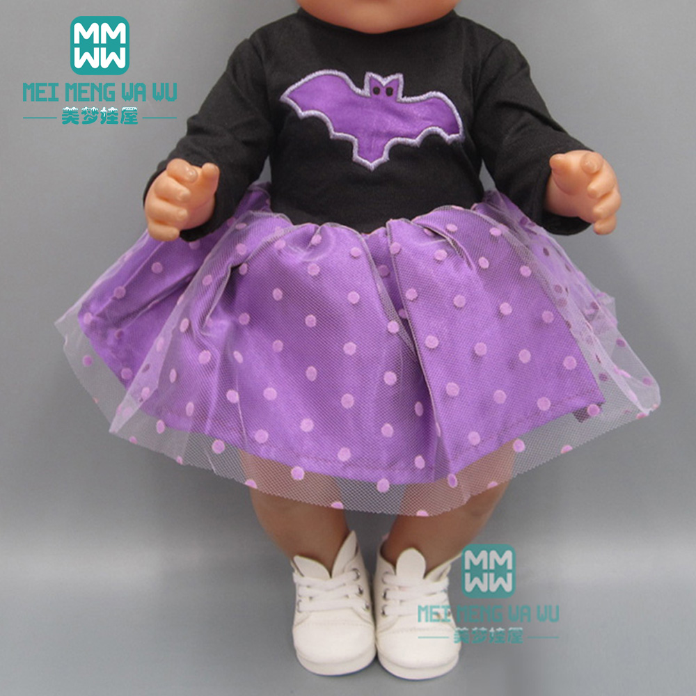 Baby Clothes For Doll Fit 43 Cm New Born Dolls Accessories And 45cm American Doll Purple Princess Dress