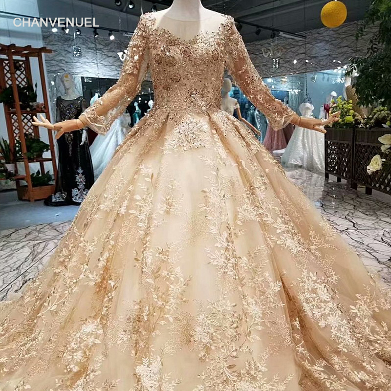LS147944 luxury dubai women occasion dresses o-neck long sleeve ball gown shiny golden lace muslim evening dresses with train