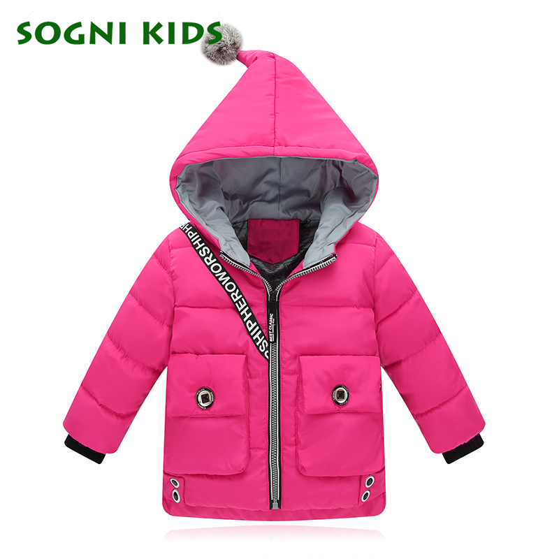 Winter Kids Girls Jacket Parkas Boys Coats Cartoon Windproof Hooded Down Warm Thick Outerwear Cotton For 2017 Children Clothes cartoon boys girls winter down coat kids long sleeve hooded jackets children thick warm outwear clothes parkas for girls yb234