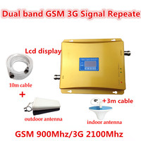 Hot sale! LCD display GSM 900mhz / 3G 2100mhz dual band cell phone signal booster mobile phone signal booster amplifier full set