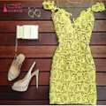 V Neck Short Knee Length Cocktail Dresses 2017 Real Photos Yellow Straight Party Dress vestido de festa curto
