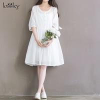 2018 Sale Loose Zanzea Plus Size New Literature And Art Simple Sleeve Bandwidth Cotton Dress Dresses