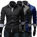 2016 New Arrival Men's Stylish Slim Fit Long Sleeve Dress Shirt Casual Tee Tops Business Shirts