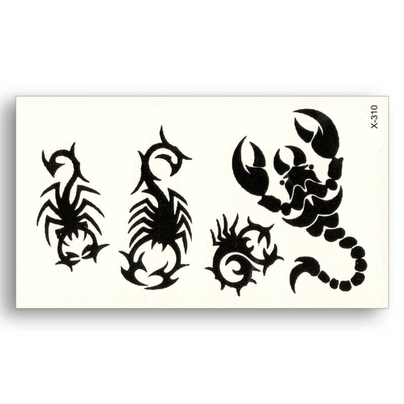 Fake temporary waterproof Removable tattoo Water Black Scorpion Totem Sticker Men Women Cool Body Art Live of Song X310