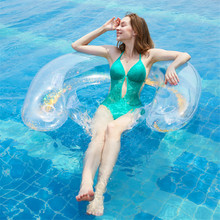 где купить 141cm Giant Inflatable Floating Chair For Adults Kids Pool Float Summer Beach Toys Swimming Ring Air Mattress PVC Inflatable Bed по лучшей цене
