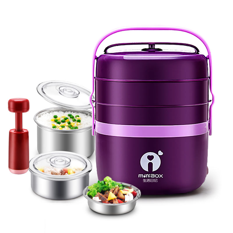 DFH K8 Pluggable Insulation Heating Lunch Box Three Layers Hot Rice Cooker Cooking Electric 304 Stainless Steel Lunch Box