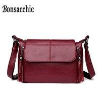Bonsacchic Small Women Bag Famous Brand Handbags Women Shoulder Bag 2018 Luxury Designer Tassel Lady's Cross Body Bag Red Purse