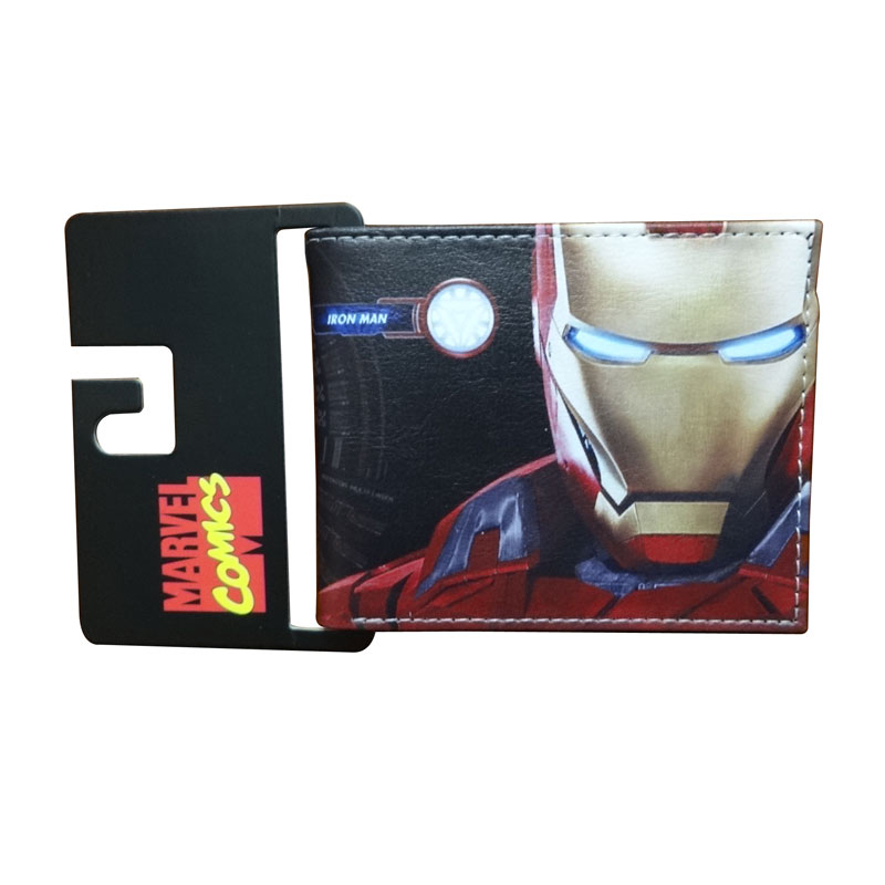 Lovely Cartoon Anime Ironman Wallet carteira Marvel Comics Iron Man Purse Dollar Price Gift Kids Boy Girl Leather Short Wallets dc marvel comics wallets cartoon anime iron man spiderman captain america hulk creative gift purse kids folder short wallet