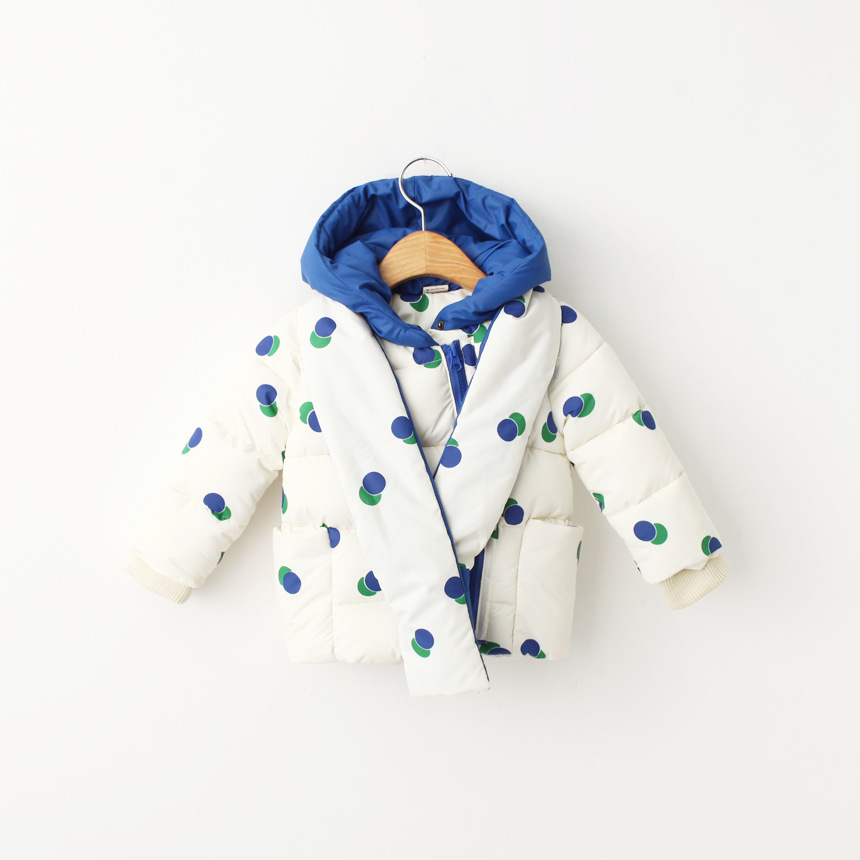 ФОТО Boys winter fashion Polka Dot coat girls warm hooded outerwear boys girls jackets 3 colors kids coat with big cap free shipping