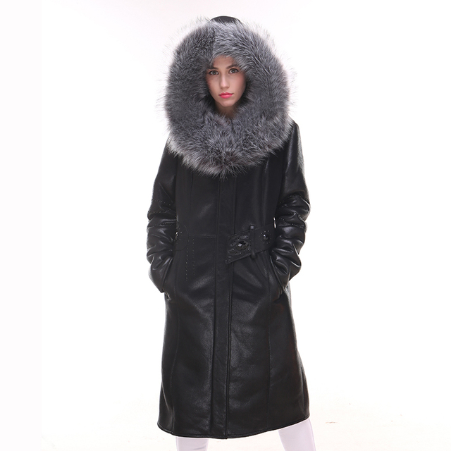 21eb2b3140bc natural Genuine Leather Fox fur collar new winter Keep warm Coat Women s  Fur Faux Suede thick