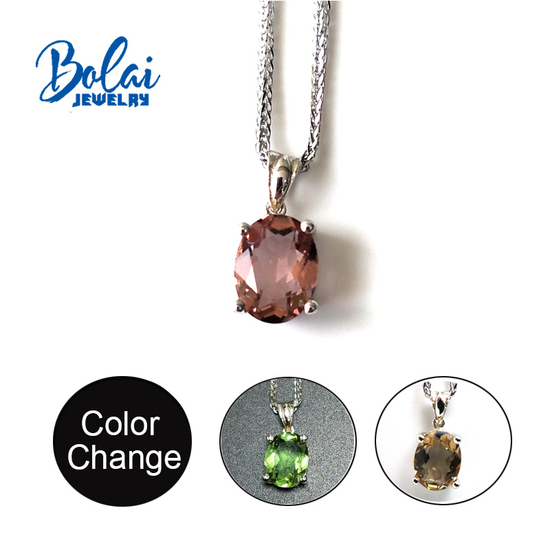 Bolai,Color Change Sultanate Diaspore Pendant 7*9mm Created Gemstone Jewelry 925 Sterling Silver For Women  Best Gift