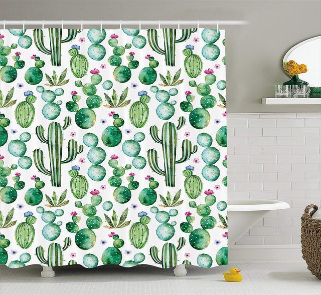Green Decor Shower Curtain Mexican Texas Cactus Plants Spikes Cartoon Like Art Print Fabric Bathroom