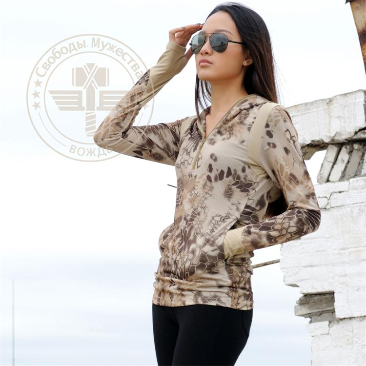 Woman Camo Quick-dry Hoody Shirt Mandrake Crew Neck Long Sleeve Mesh TRU Shirt Kryptek