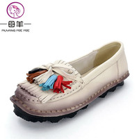 MUYANG MIE MIE Women Flats Fashion Genuine Leather Flat Shoes Woman National Trend Fringe Soft Casual